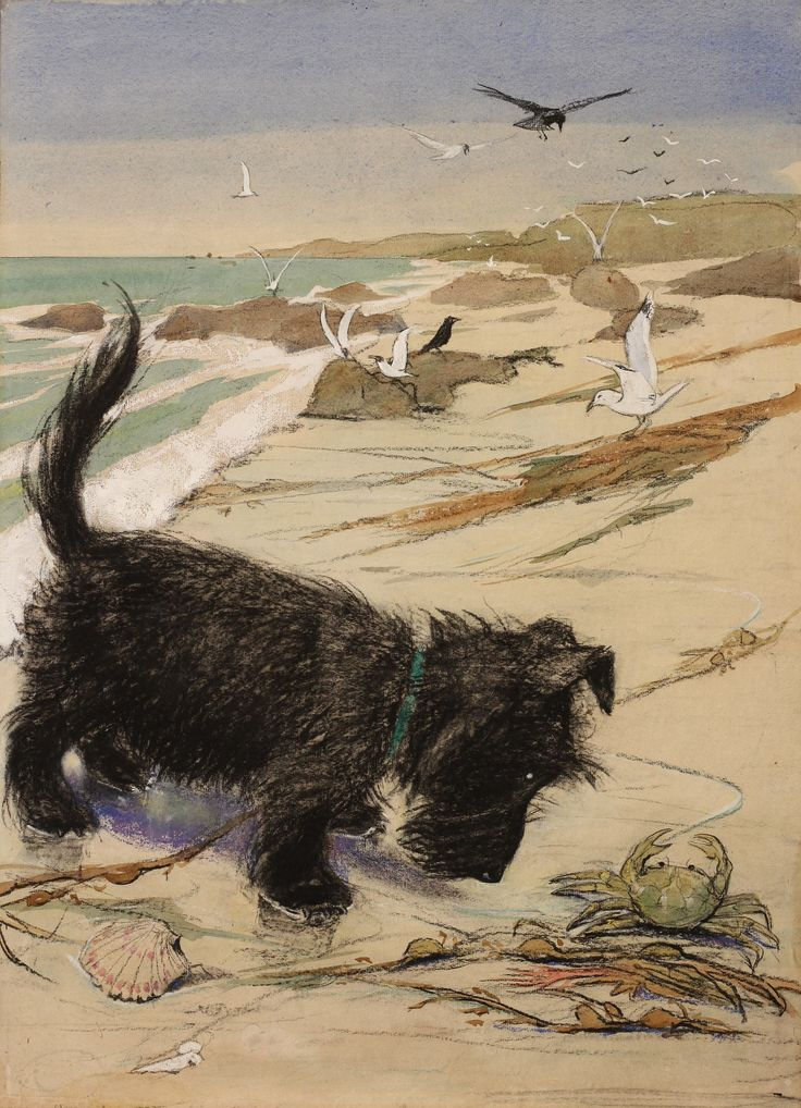 """Seashore"" Scottish Terrier pastel by Muriel Helen Dawson"